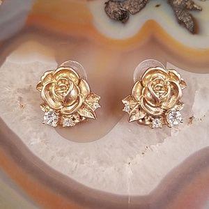 Rose & rhinestone large stud earrings GUC